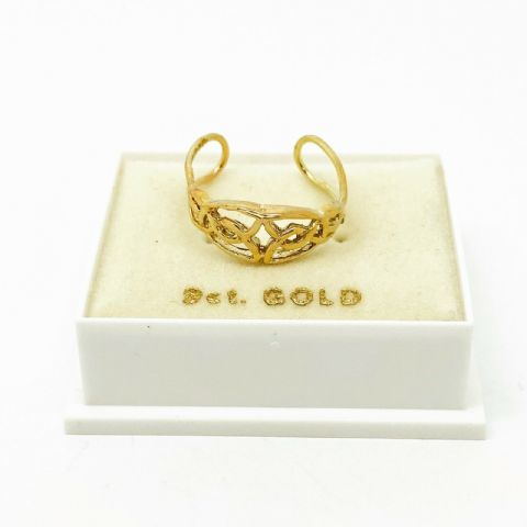 Genuine 9ct Yellow Gold Cutout Celtic Pattern Toe Ring One Size Fits All